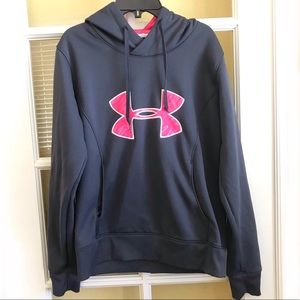 Grey/Pink Under Armour hoodie Sweat Shirt